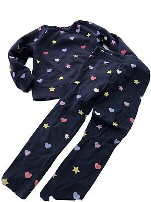 Girls Track Suit Outfit. 2 Piece. Navy Blue Hearts Stars. GAP. 3-4 4 Years