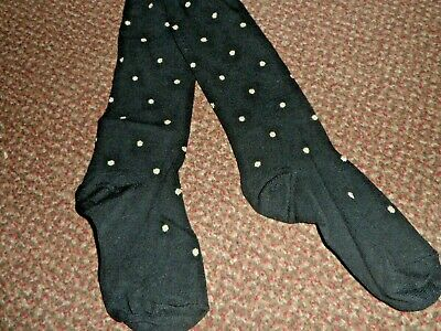 new Girls black glitter Spotted Tights 3-4 years - BNWOT