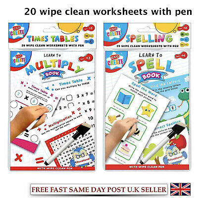 Kids Child Educational Wipe Clean Books Maths Multiply Learn to Spell Worksheet