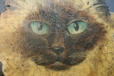 Antique Life Size Wood Cat Original Paint Primitive Folk Art Painting Scarecrow