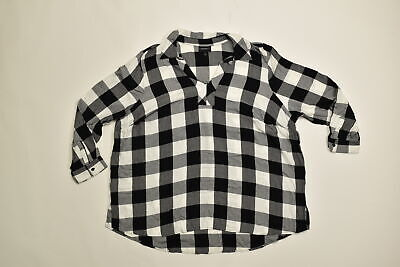Women's Lane Bryant Blouse Plus 22/24 Black White Plaid Polyester Long Sleeve V-