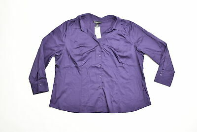 Women's Lane Bryant Button Down Plus 28 Purple Solid Cotton Blend Long Sleeve V-