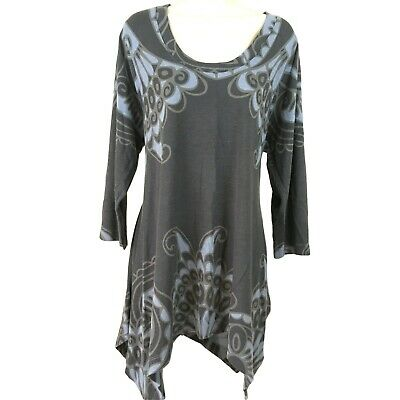 Philosophy Republic Clothing Womens Sz 2X Blue & Gray 3/4 Slv Sharkbite Tunic