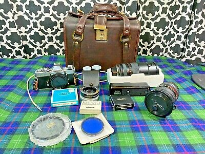 Vintage Minolta XD11 35MM Camera with Lens Accessories Lot
