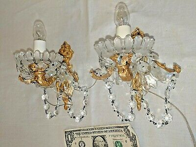 Pair Antique Vtg Brass Petite Tiny Chandelier Sconce Wall Lamp W Crystals Chains