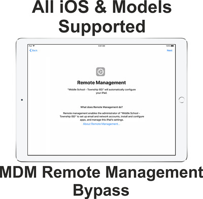 Apple iPad iPhone MDM Supervised By Another Computer Bypass Service iPad iPhone