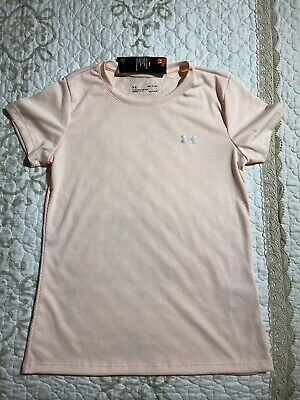 🎼Under Armour Heat Gear Women's Loose Fit Pink Short Sleeve Top Size Small NWT