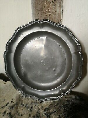 Antique Heavy Pewter Plate. Late early 19th or 18th century. 12 inches.