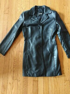 Kasper Womens 100% Leather Jacket Size Small Lined Soft Black Button Up Coat EUC