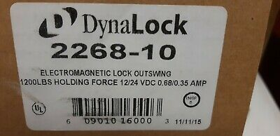 DynaLock 2268-10 Electromagnetic Mag Lock Outswing 1200 lbs 12/24 VDC