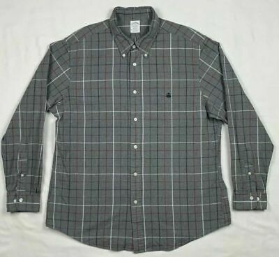 Brooks Brothers Regent Mens XL Gray Plaid L/S Button Down Shirt D6