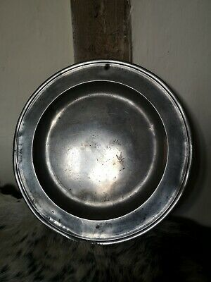 """ANTIQUE ENGLISH LARGE PEWTER CHARGER PLATE, 13.5"""". Likely 19th / 18th century"""
