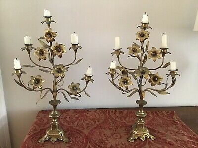 Pair of Antique French Art Nouveau Bronze and Brass Floral 5-Light Candelabra