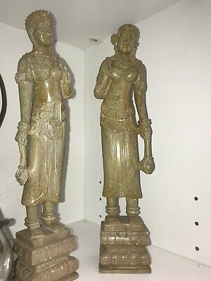 Pair of Quan Yin Goddess of Compassion & Mercy Statues • Stone Carved