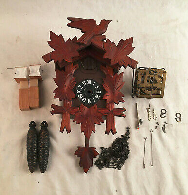 German Black Forest carved wood cuckoo clock @ 1960s Original Project
