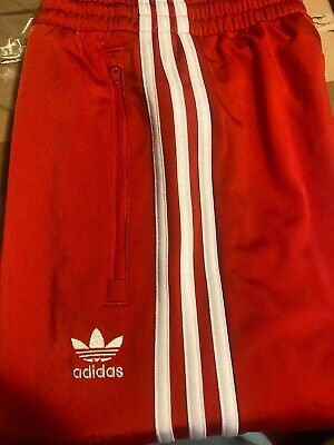 Adidas Originals Firebird 3 Stripes Tracksuit Bottoms RED White Size large NEW