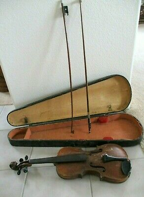 Old German HOPF Violin w/Wooden Antique Case and Bows Vintage Needs TLC Signed