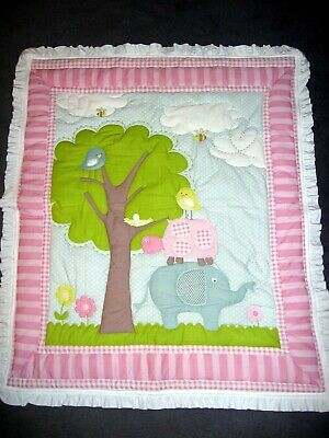 Pink Gingham Elephant Handmade 3-D Quilted Baby Quilt or Wall Hanging 36 X 44