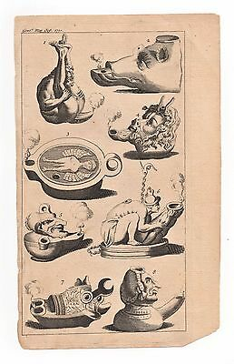 1751 Engraving ANCIENT OIL LAMPS Antique Archaeological Art Print Greek or Roman