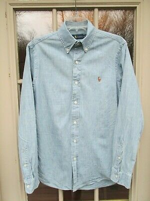 POLO Ralph Lauren LS SHIRT Men's Small, Light Wash Denim Cotton, Logo, EUC