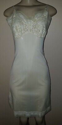 Vintage Henson Kickernick Lacey Light Yellow Full Slip Made in USA Size 34