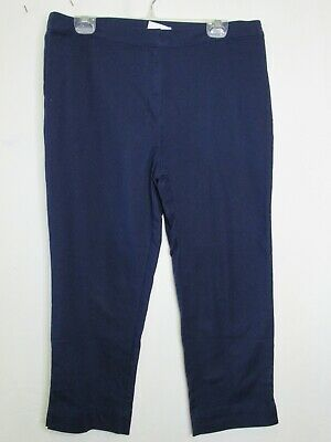 14R Dennis Basso Stretch Woven Crop Pants NAVY A278235