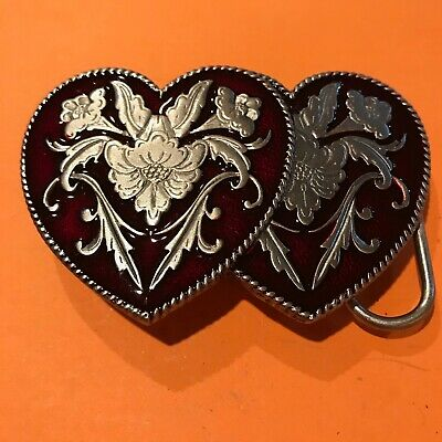 Siskiyou Buckle Co.1992 Double Heart shaped Pewter Belt Buckle, Silver & Red