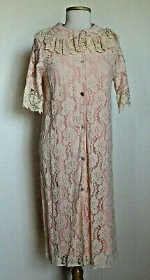 Vintage 50s Aristrocraft Beige Lace over Pink Nylon Robe House Coat sz M