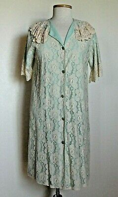 Vintage 50s Aristrocraft Beige Lace over Green Nylon Robe House Coat sz S