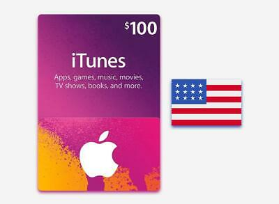 ***$100 APPLE US iTUNES CARD gift certificate FAST FREE worldwide shipping***
