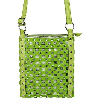Green Studded Rhinestone Mesh Messenger Bag Cross Body Western Bling Satchel