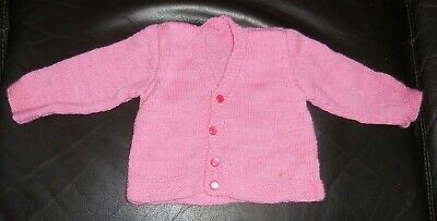 Hand Knitted Pink Baby Cardigan Size 1