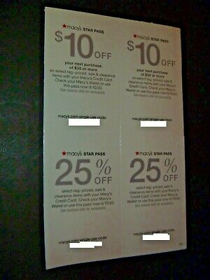 Lot Of 4 - Macy's Star Pass Rewards Coupons - $10 Off $30 - 25% Off - Exp May 10