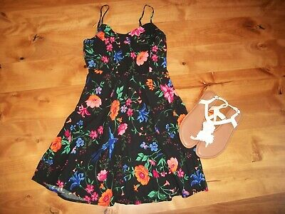 NWOT OLD NAVY SUN DRESS S/P BLACK BRIGHT FLORAL blue bird TWIRL WASHABLE RAYON