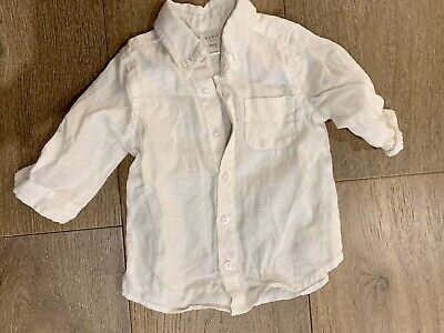 SEED Boys White Linen Long Sleeve Shirt - Size 3-6 Months - EUC