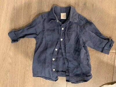 SEED Boys Navy Blue Linen Long Sleeve Shirt - Size 3-6 Months - EUC