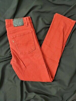 Womens Levis 510 Skinny Jeans Red 28x28 16regular