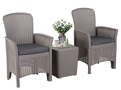 Rattan Bistro Set 3 Piece Table And 2 Chairs Patio Garden Conservatory Furniture