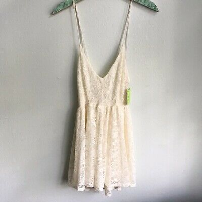 NWT Sam Edelman Size Large Lace Romper Cream Strappy Back Bridal Wedding Bride