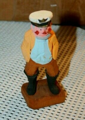 Vintage Wood Carved Figure Pipe Fisherman with Pipe Nautical Wooden Decor