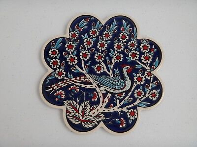 Peacock Pottery Ceramic Cheese Plate Cutting Board Blue White Red MADE in TURKEY