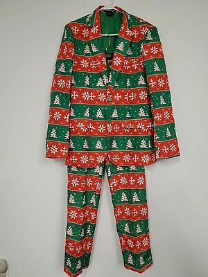 Suitmeister 2 Pc Set Christmas Tree Suit Ugly Christmas Holidays Men's M-38-40