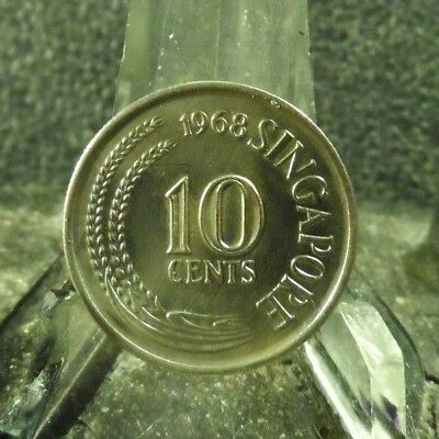 Circulated 1968 10 Cents Singapore Coin! (12418)1