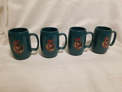 Set Of 4 Miller Mugs 16 oz.Girl Sitting On Moon