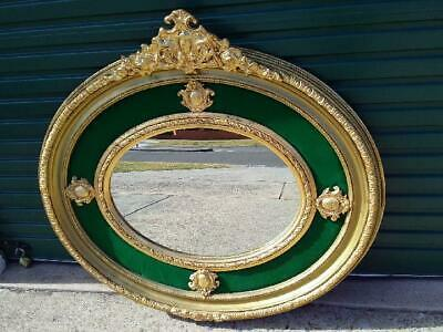 French Louis  Gold Bevelled Oval Wall Mirror With Green Velvet Surround 115 X125