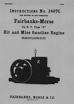 Fairbanks Morse 1½ HP Type Z Instructions No. 2407C