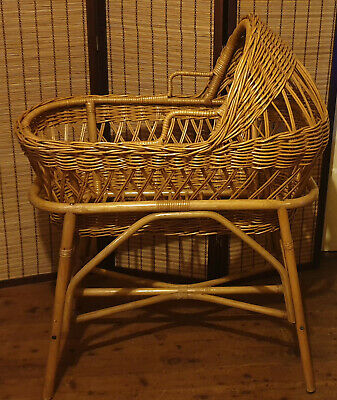 Gorgeous Rare Vintage Cane Wicker Baby Bassinet