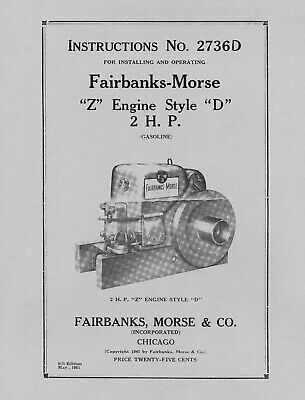 Fairbanks Morse 2 HP Style  D  Instructions No. 2736D