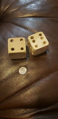 A  Large Pair Of Hand Carved Wooden Dice.  Poplar Wood.