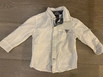Guess Baby Boy Shirt White with Blue Paisley Print - Size 18 Months